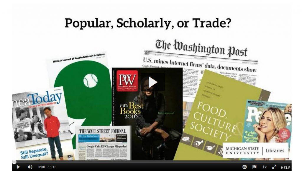 video player showing the title popular, scholarly, or trade?
