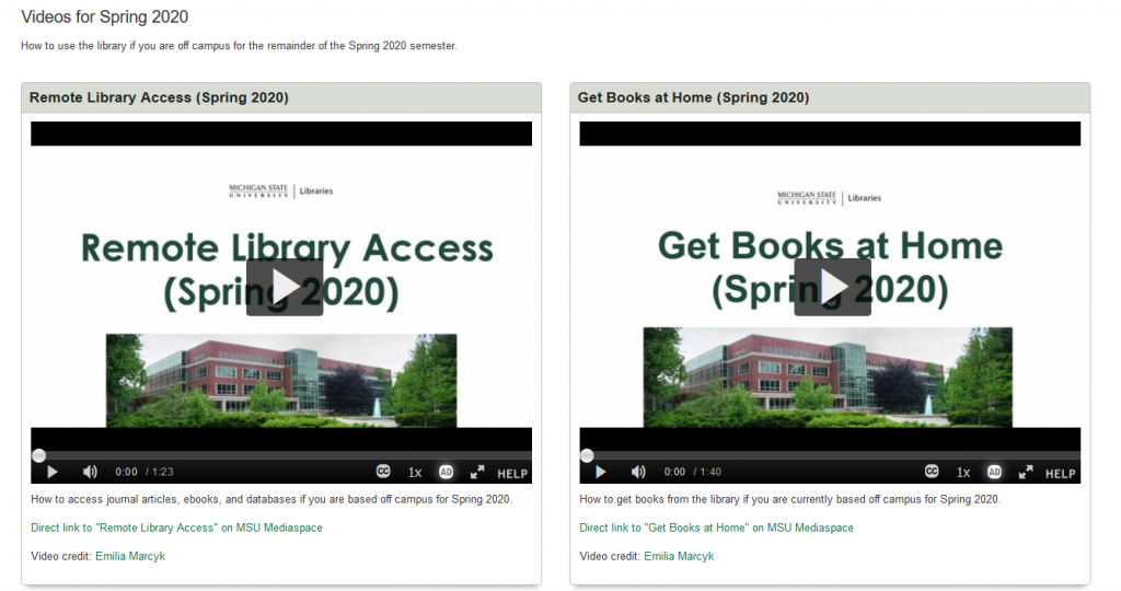 screen shot showing two videos, Remote Library Access and Get Books at Home